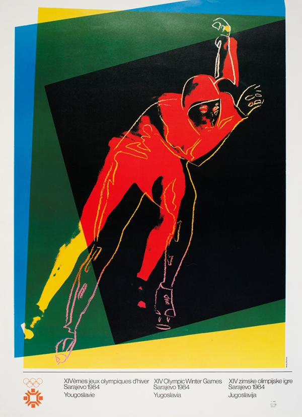 Speed skater, poster, Adny Warhol, about 1983. Museum no. E.3185-2007. © Victoria and Albert Museum.