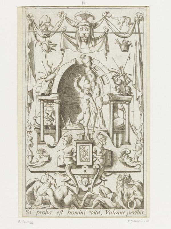 Engraving from a set of twenty prints depicting grotesque panels containing pagan divinities. This panel shows Vulcan, the god of fire and metalworking.