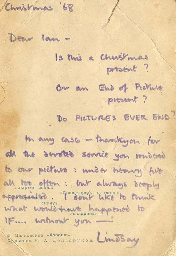 Handwritten letter from Lindsay Anderson to Ian Rakoff, 1968. © Ian Rakoff