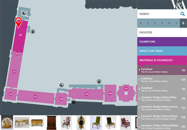Digital Map room highlight, showing visitors objects on display. This is achieved automatically by data lookup and API call to the Collections API