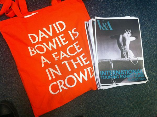 David Bowie is bag and touring exhibitions leaflets. © Dana Andrew, 2013