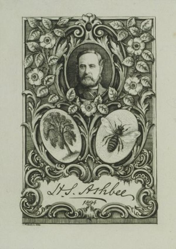 Bookplate of  H.S. Ashbee, Charles William Sherborn, 1894. Museum number E.2152-1912. © Victoria and Albert Museum, London