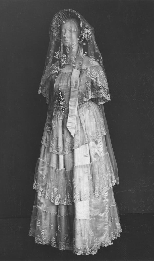 Previous display of the wedding ensemble of Henrietta Woodcock