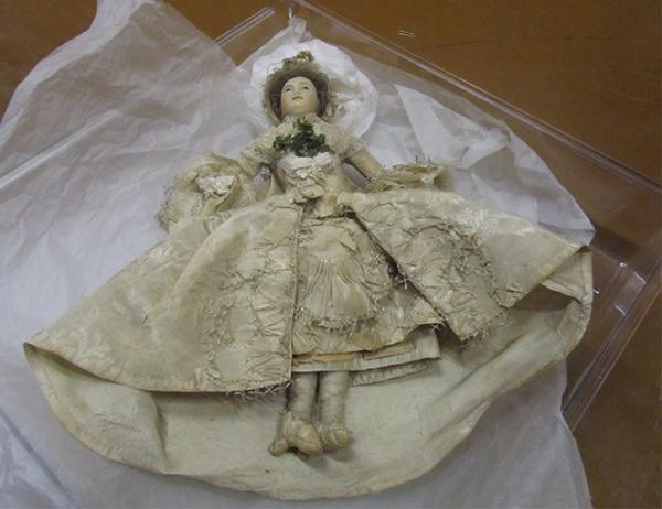 Doll in wedding dress, unknown maker, dressed by the Powell Family, England, 1761-1800. Museum no. W.183-1919. Gift of Mr H.J. Powell. © Victoria and Albert Museum, London