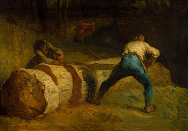 Oil on canvas, 'Woodsawyers', Jean-François Millet, 1850-1852. Museum number CAI.47 © Victoria and Albert Museum, London