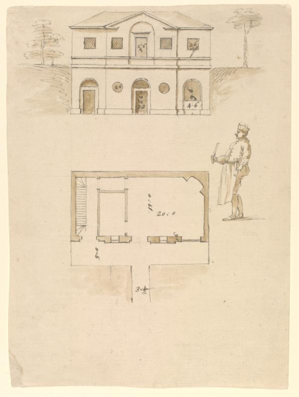 Architectural design for a building to house a kitchen and its offices by William Kent  with sketch of a cook