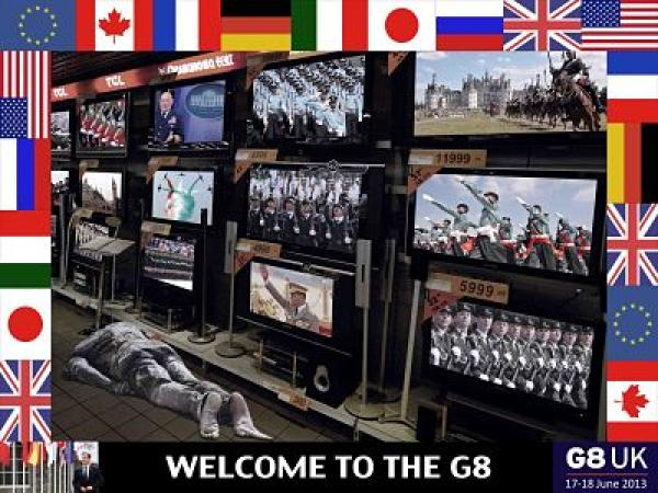 'Welcome to the G8' protest poster by Peter Kennard, 2013