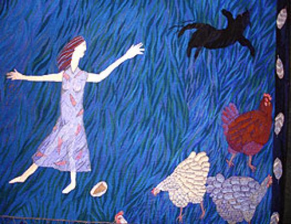La Dame Aux Belles Plumes (detail), woven tapestry, Lynne Curran, 1987, Museum no. T.324-1987