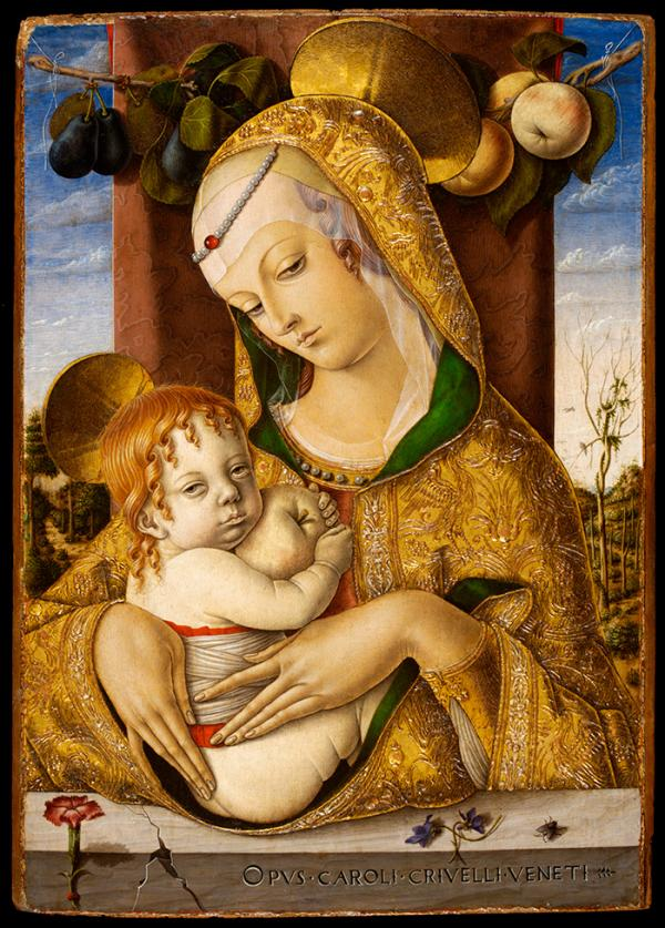 Painting of the Virgin Mary with Christ child sitting on a parapet, by Carlo Crivelli, ca. 1480. Museum No. 492-1882. © Victoria & Albert Museum