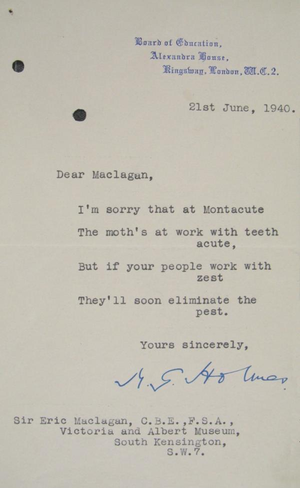 Letter from Sir M. G. Holmes