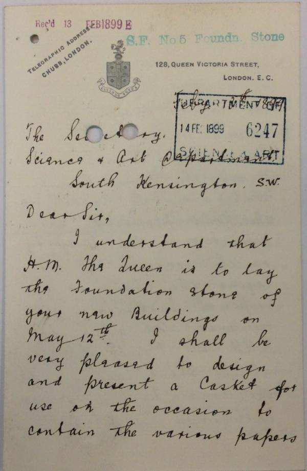 Letter from Sir George Hayter Chubb