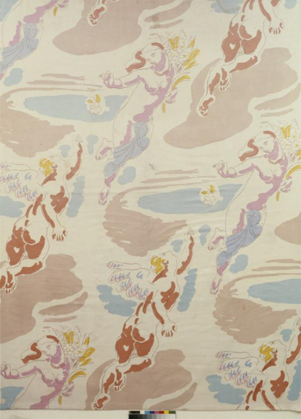 Screen printed cotton and rayon showing Daphne & Apollo by Duncan Grant for Allan Walton Textiles, English, 1932