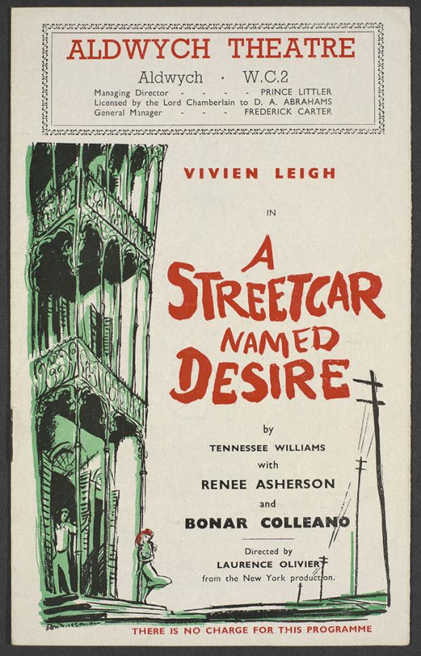Programme for A Streetcar Named Desire starring Vivien Leigh at Aldwych Theatre, 1949. © Victoria and Albert Museum, London