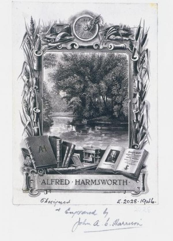 Bookplate of Alfred Harmsworth, W. Phillips Barrett, 1903. Museum number E.2028-1946. © Victoria and Albert Museum, London