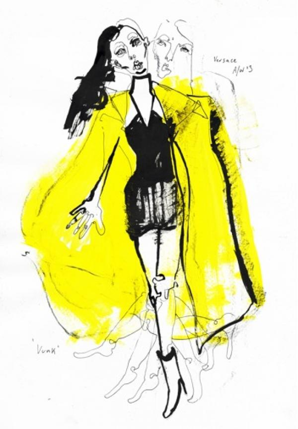 Illustration of Versace by Fiona Gourlay - SHOWstudio x V&A