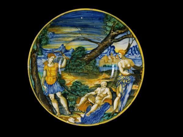 Maiolica plate depicting Apollo and Daphne based on Ovid's 'Metamorphoses', Italian, 1540-1550