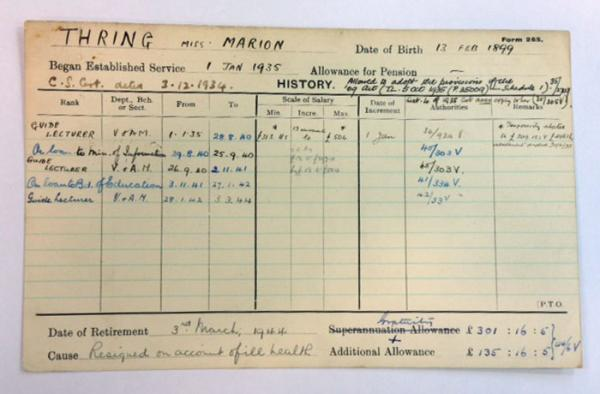 'Staff history card' for Marion Thring,