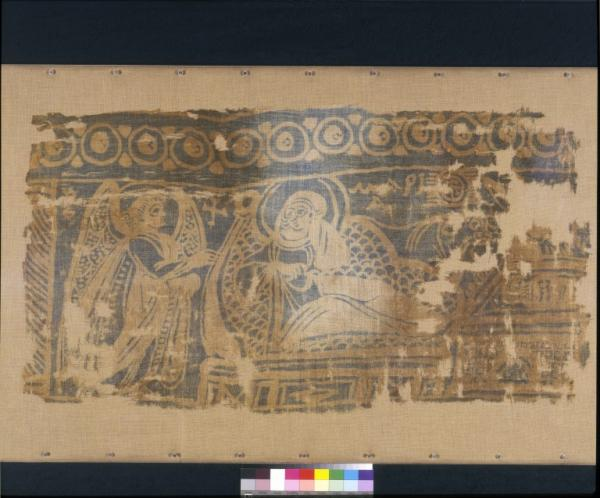 Panel of resist dyed linen showing the Nativity, Egypt, 300-400 © Victoria & Albert Museum, London