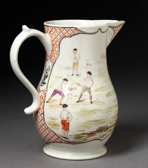 The Game of Cricket, jug, Lowestoft porcelain factory, 1769 - 1770. Musuem no. C.60-1932. © Victoria and Albert Museum, London