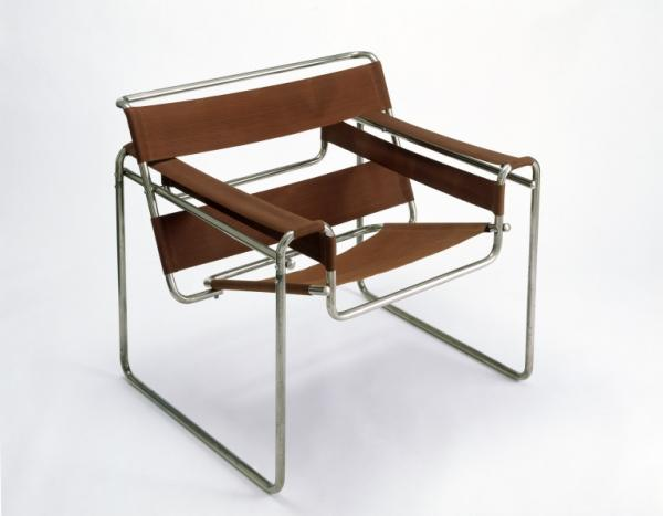 Armchair, tubular steel with red canvas, designed by Marcel Breuer 1925-1926