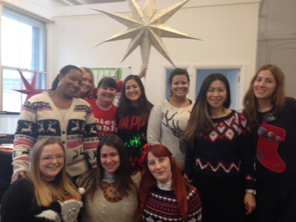 Christmas jumper day at the V&A Shop
