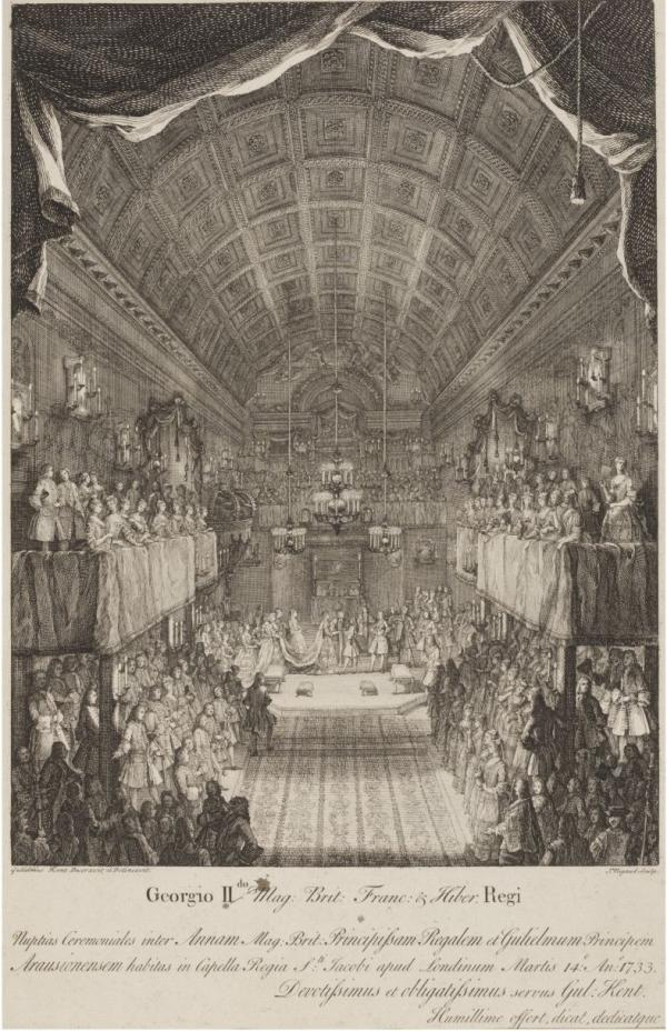 "Engraving by J. Rigaud after William Kent, showing the wedding ceremony between Princess Anne and William, Prince of  Orange in March 1733. According to Vice Chamberlain Lord Hervey, Kent provided ""as much finery as velvets, gold and silver tissue, galloons, fringes, tassels, gilt lustres and sconces could give."" Kent produced this souvenir print for sale to the general public."