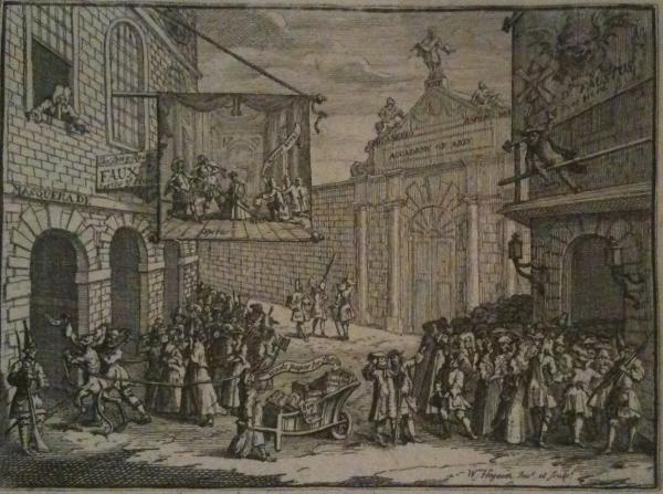 William Hogarth, 'Masquerades and Operas, Burlington-gate, or 'The Bad Taste of the Town', 1724. Engraving and etching. Museum n