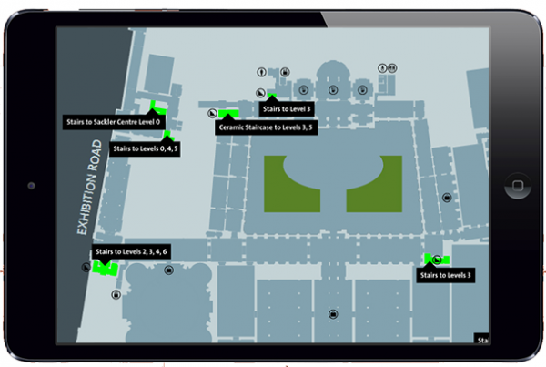 V&A Digital Map showing highlighted facilities
