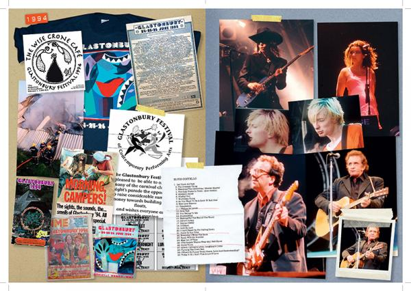 Excerpt from scrapbook, © Glastonbury Festival. Thanks to Glastonbury At 40. Photographs compiled by the Somerset photographers Brian Walker, Ann Cook, Matt Cardy, Jason Bryant, Ian Sumner, Anna Barclay