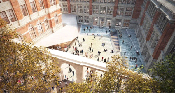 The new courtyard and entrance on Exhibition Road. © AL_A