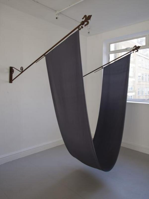 George Eksts, Three State Solution. Iron flagpoles, silk flag. 170 x 198 x 141cm