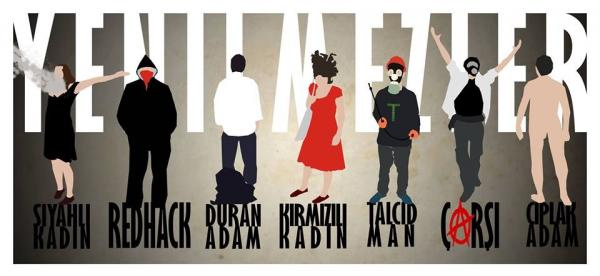 Digital poster featuring iconic figures from the protests in Turkey