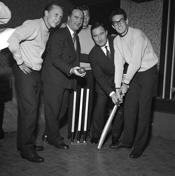 Buddy Holly with The Crickets and cricketers Colin Cowdrey and Denis Compton, photographed by Harry Hammond,1958. Museum no. S.12037-2009. © Victoria and Albert Museum, London.