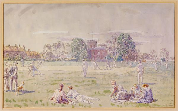 The Cricket Green, Great Bentley, Walter Bayes, 1940. Musuem no. E.1377-1949. © Victoria and Albert Museum, London.