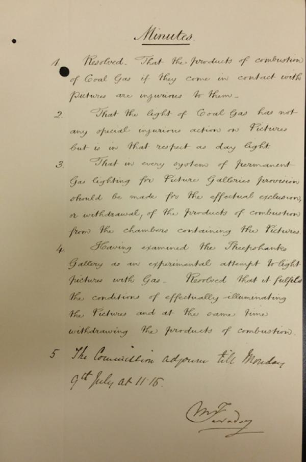 Minutes of the Commission signed by Faraday