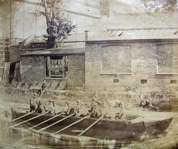 Sappers from the Royal Engineers Regiment testing a pontoon in the pool in 1861