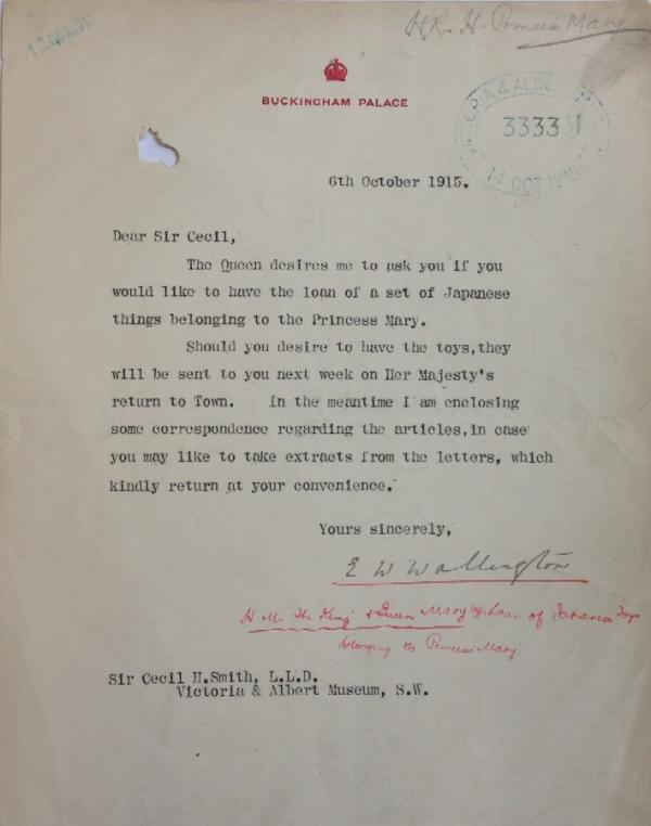 Letter concerning the loan of Japanese toys belonging to Princess Mary