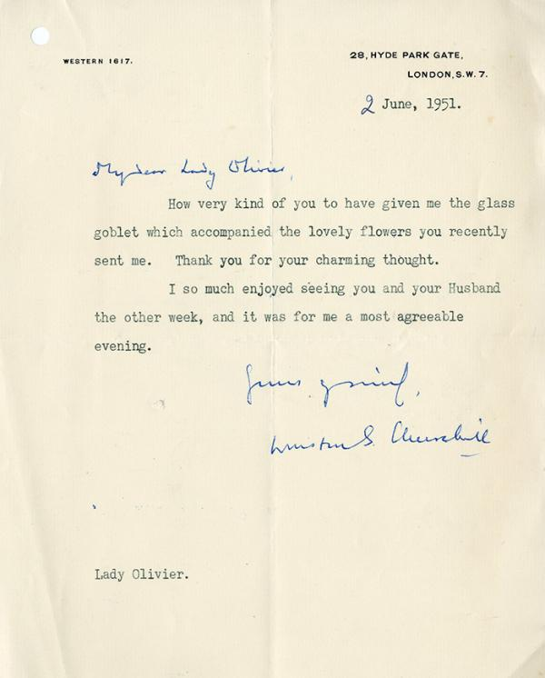 Letter from Sir Winston Churchill to Vivien Leigh, 1951. © Victoria and Albert Museum, London.