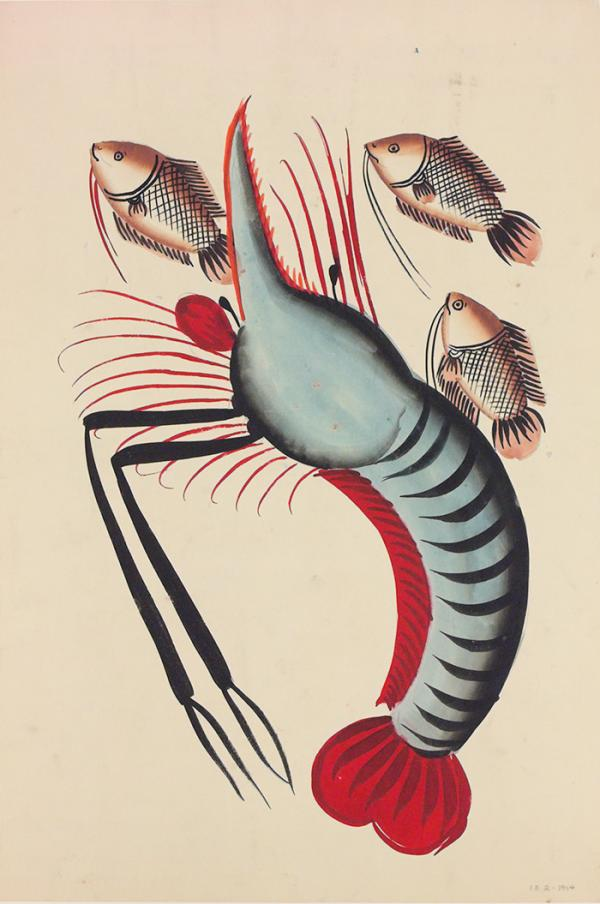 Painting, prawn with three fishes, Kolkata, India, about 1940, watercolour on paper. Museum no. IS.2-1954, © Victoria and Albert Museum, London