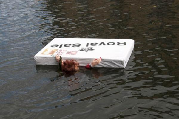 Protest prop floating on Regent's Canal