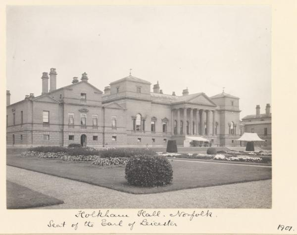 Holkham Hall, shown in a photograph by Sir Benjamin Stone, 1901.