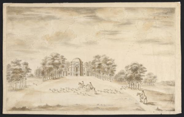 Architectural drawing of the Temple, or Banqueting House, in the park at Euston Hall, Suffolk, ca. 1746, by  William Kent and John Vardy