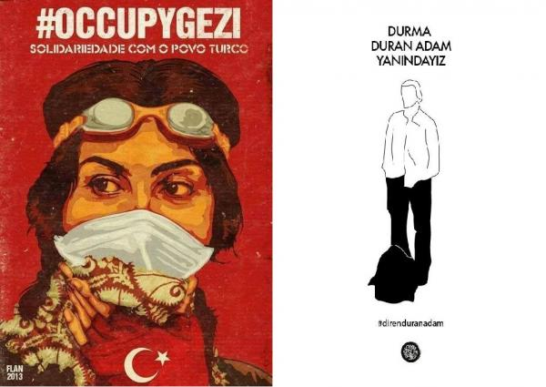 Two digital posters featuring Turkish protestors