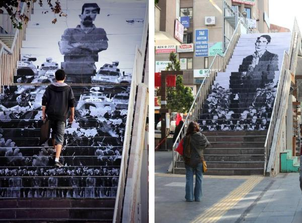 Two photographs of a pedestrian bridge in Ankara with portraits painted on the steps