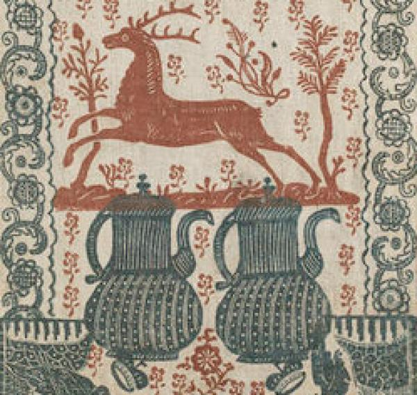 Detail of a red deer on printed linen made in 1766