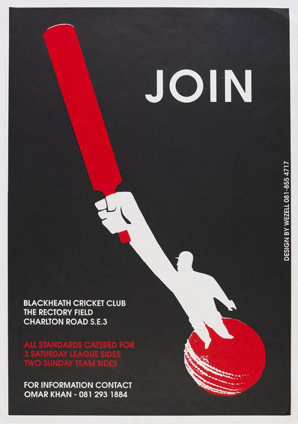 Join Blackheath Cricket Club, poster, Greenwich Mural Workshop, 1984 - 1993. Museum no. E.121-2011. © Victoria and Albert Museum