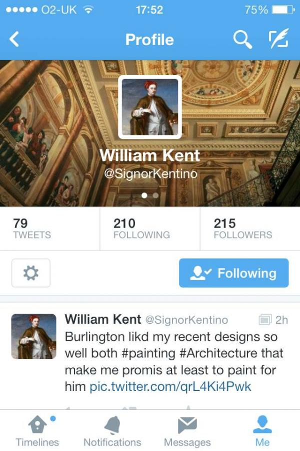 A screengrab of the V&A's William Kent twitter page