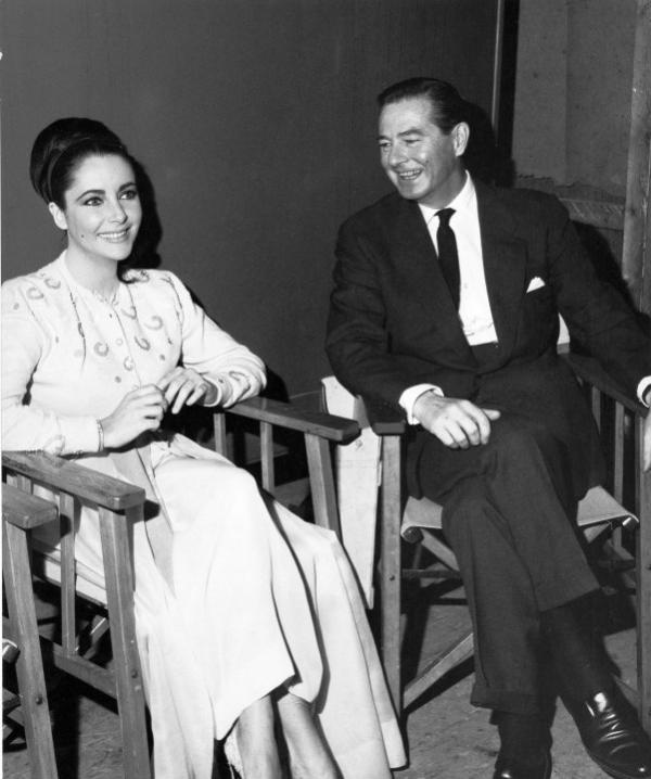 Elizabeth Taylor with Terence Rattigan on the set of The VIPs, 1963