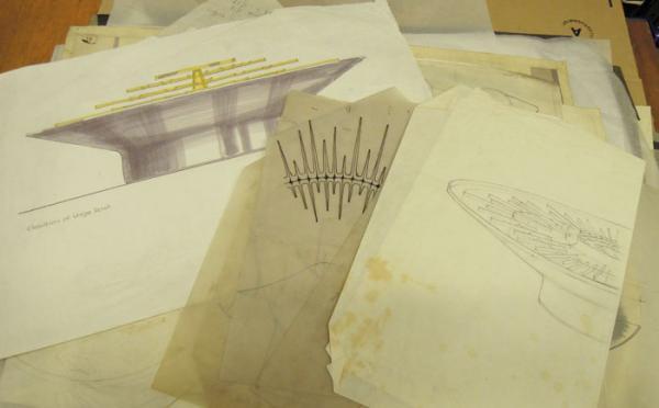 Preliminary paper designs by designer Atholl Hill