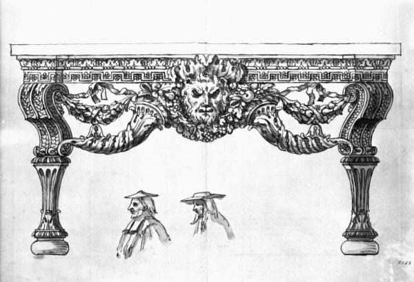 Design for a side table for Houghton Hall, Norfolk, by William Kent.